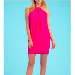 Trina Turk Hot Pink Halter Dress